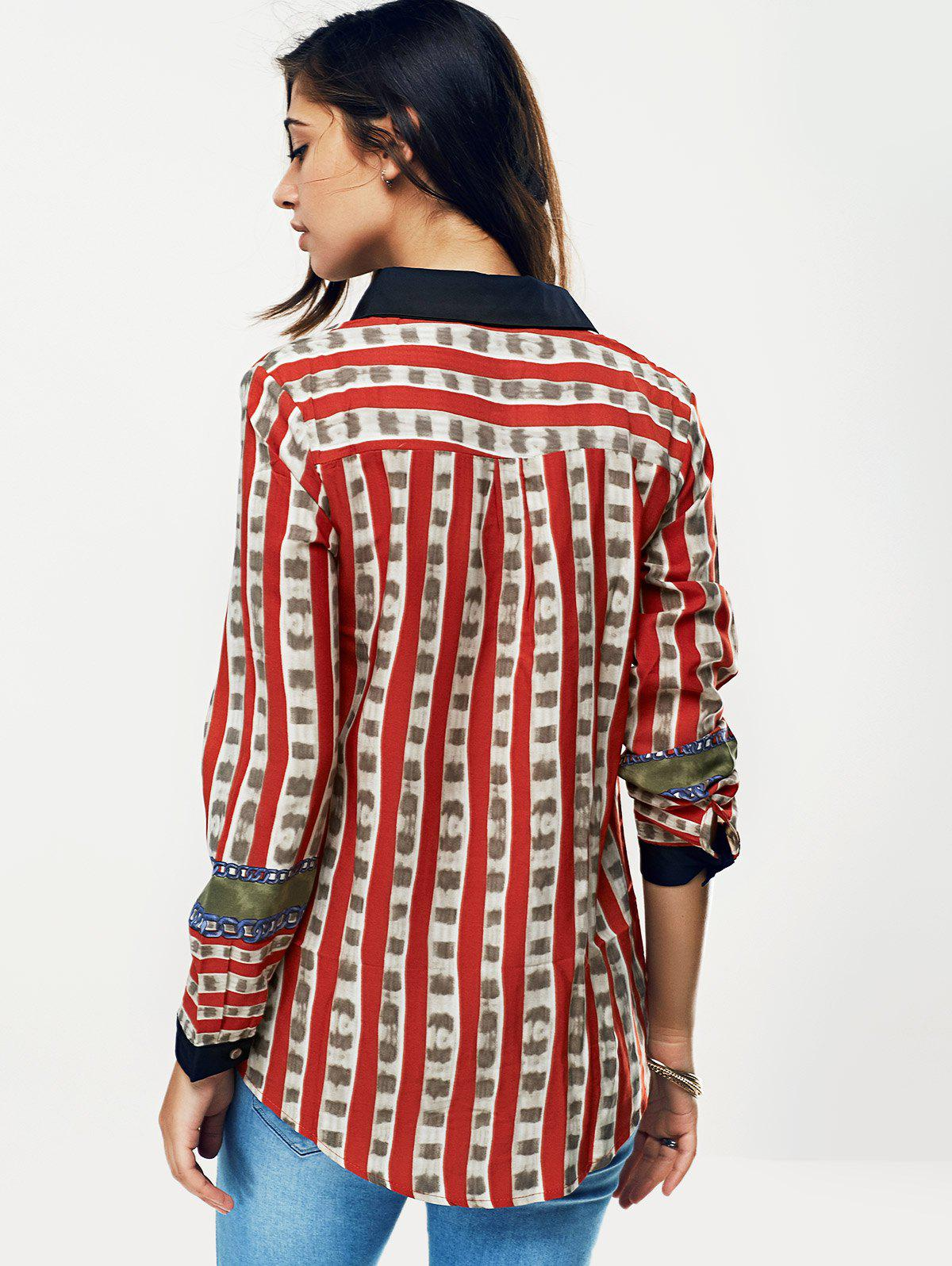 Striped Color Block Chain Print Shirt - RED S