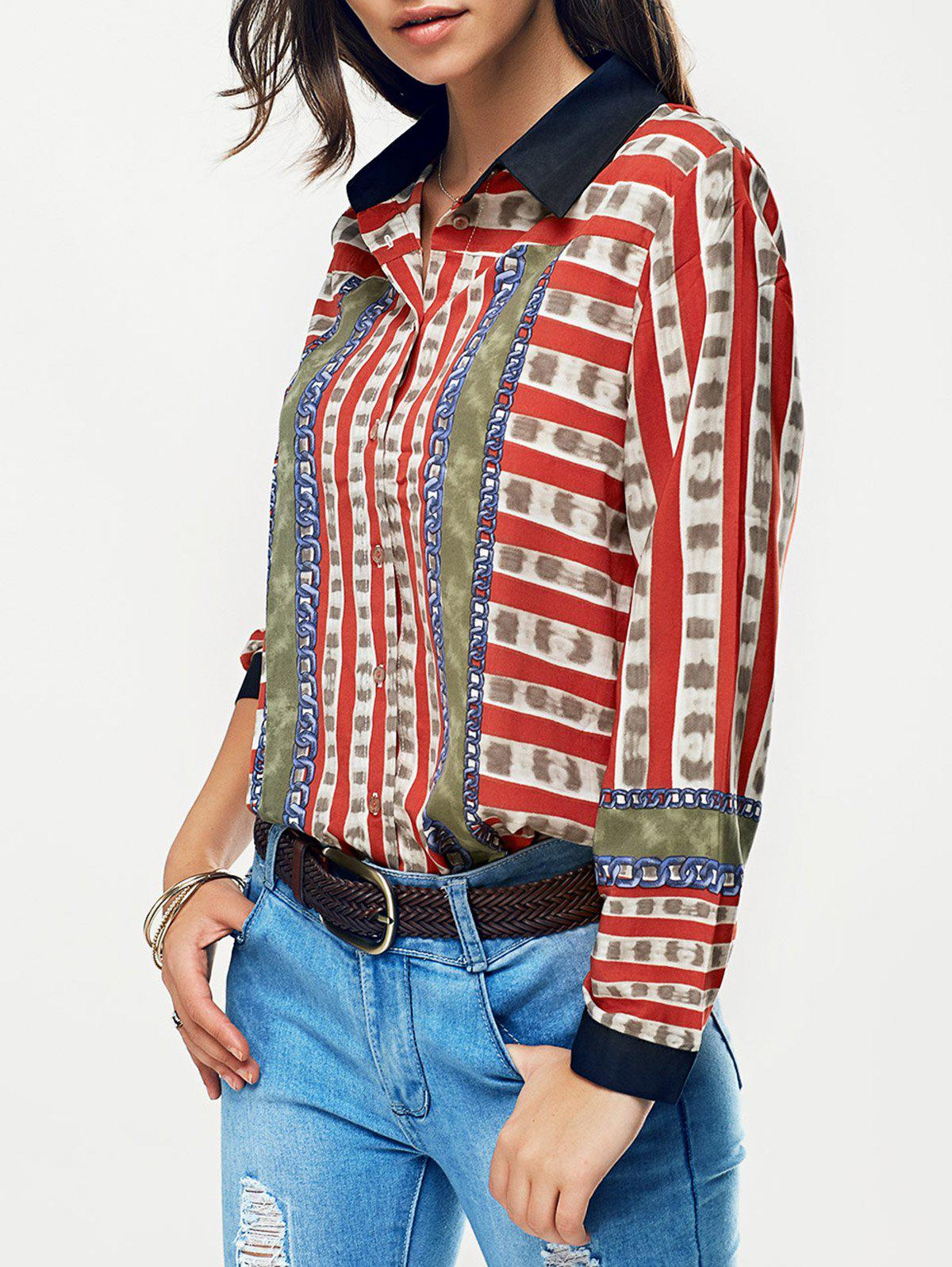 Striped Color Block Chain Print Shirt - RED L