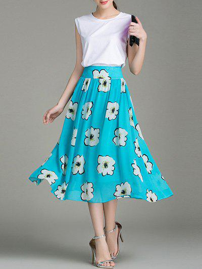 Sweet Women's White Tank Top and Floral Print Chiffon Skirt Twinset - WHITE/GREEN L