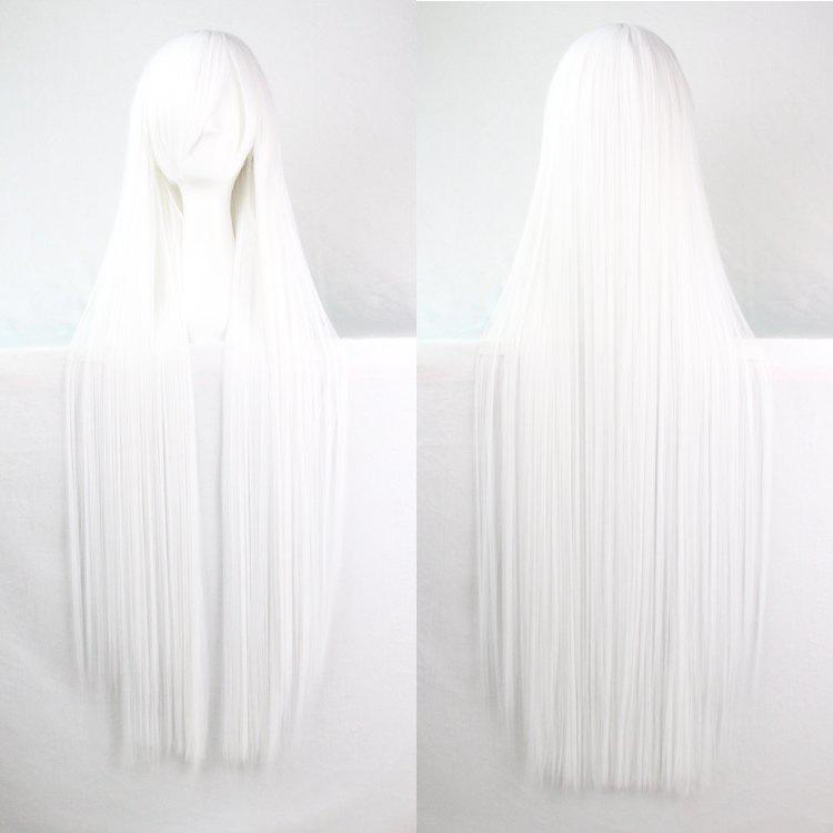 Long Glossy Straight Side Bang Harajuku Anime Synthetic Cosplay Wig - WHITE
