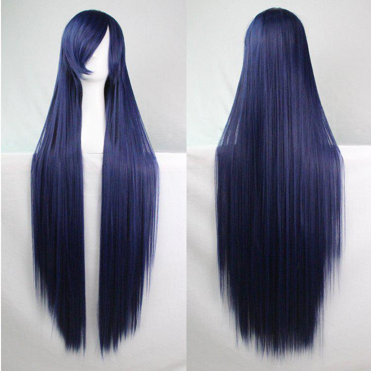 Long Glossy Straight Side Bang Harajuku Anime Synthetic Cosplay Wig - PURPLISH BLUE