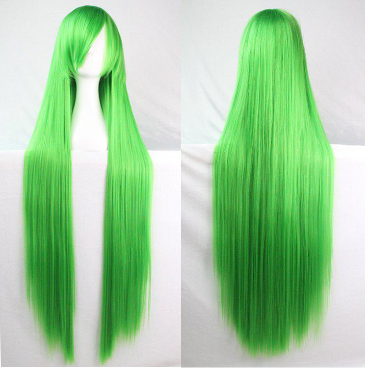 Long Glossy Straight Side Bang Harajuku Anime Synthetic Cosplay Wig - GRASS GREEN