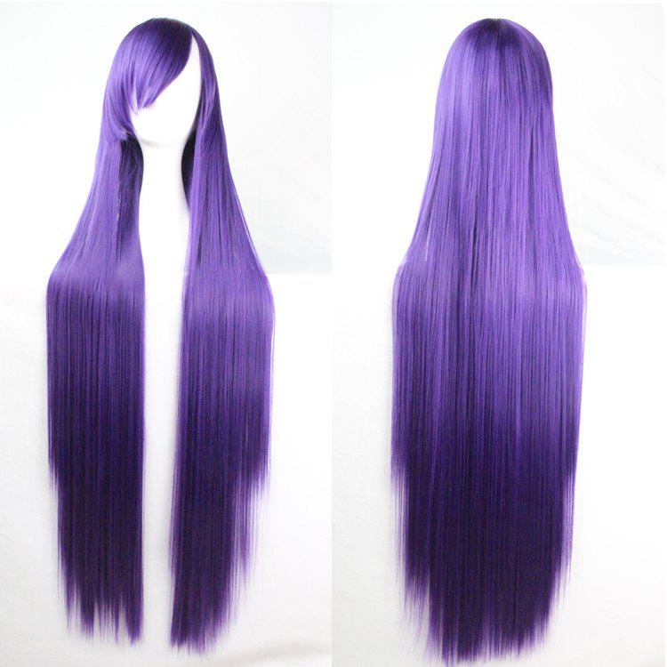 Long Glossy Straight Side Bang Harajuku Anime Synthetic Cosplay Wig - DEEP PURPLE