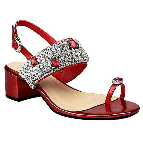 Bling Bling Rhinestone and Chunky Heel Design Women's Sandals - RED 39