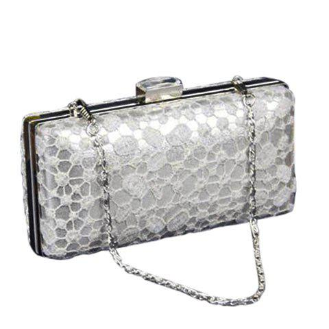 Graceful Lace and Chain Design Women's Evening Bag - SILVER