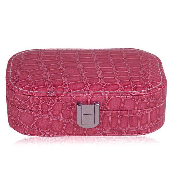 Trendy Stone Print and Hasp Design Women's Cosmetic Bag - ROSE MADDER