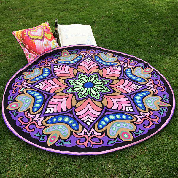 Ethnic Style Bikini Boho Swimwear Eight-Square Flower Purple Grass Mat and Satin Round Beach Throw Scarf 3d flower print square beach throw
