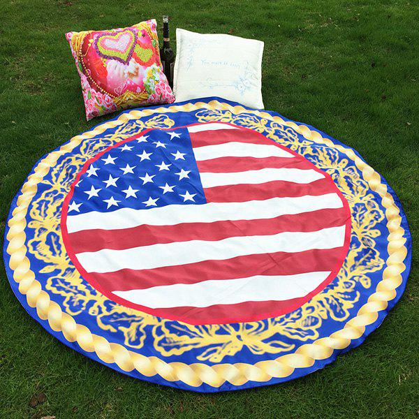 Fashion Bikini Boho Swimwear American Flag Grass Cover Mat Satin Round Beach Throw Scarf - BLUE