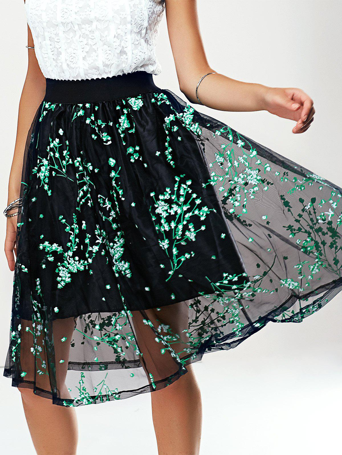 Stylish Women's A-Line Print Mesh Skirt - GREEN ONE SIZE(FIT SIZE XS TO M)