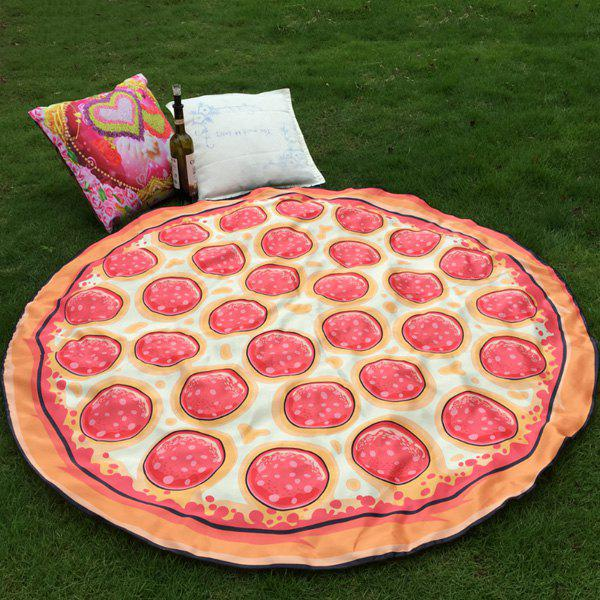 Fashion Bikini Boho Swimwear Delicious Ham Pizza Grass Cover Mat Round Beach Throw Scarf - RED