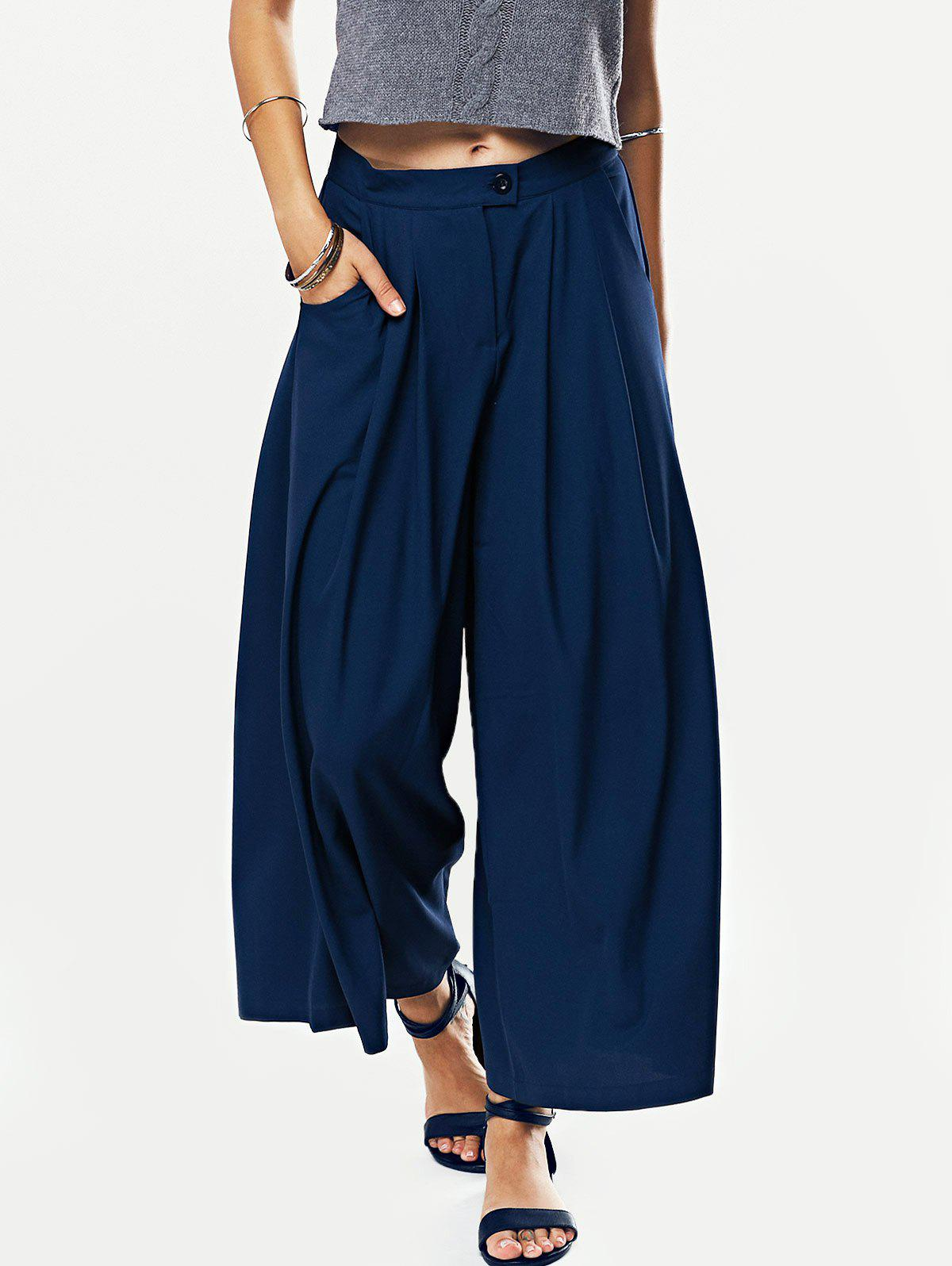 Solid Color Loose Fitting Wide Leg Pants - CADETBLUE L
