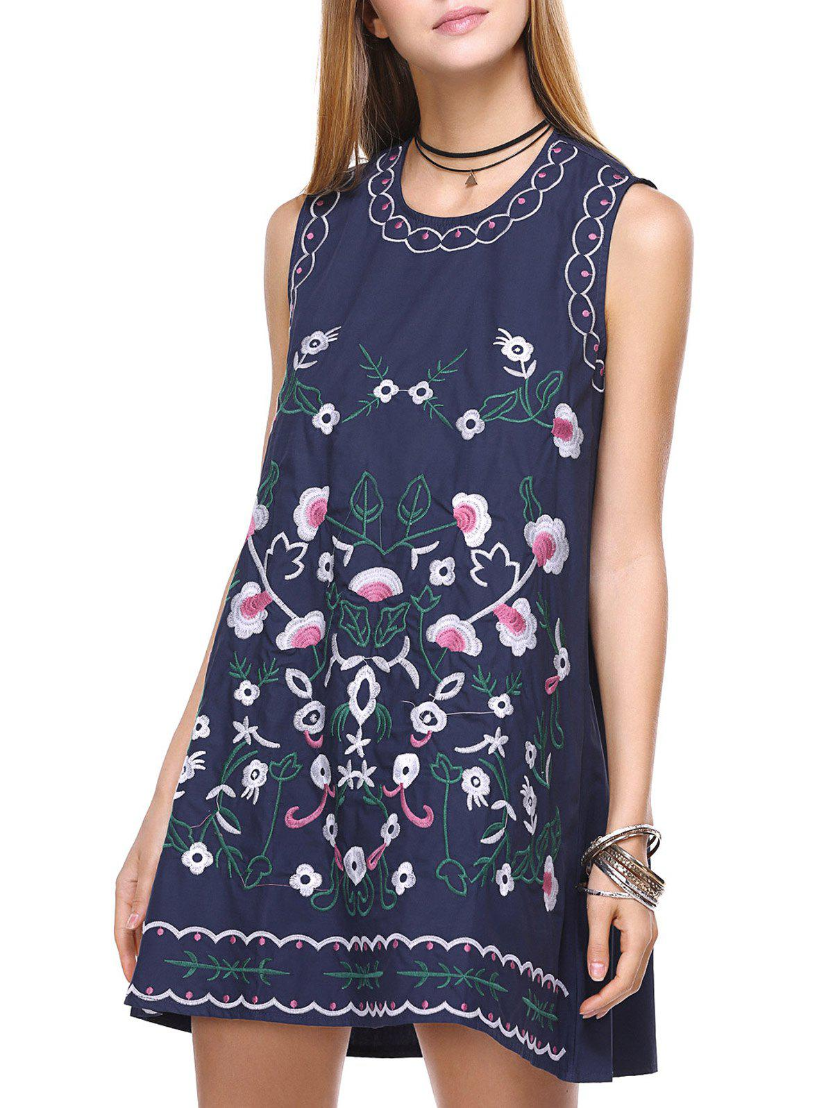 Ethnic Sleeveless Embroidery Dress For Women - PURPLISH BLUE ONE SIZE(FIT SIZE XS TO M)