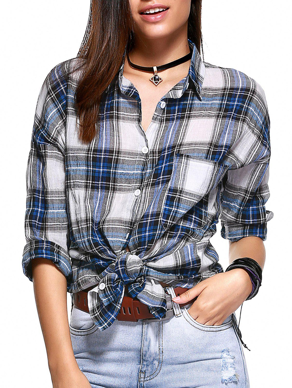 Casual Front Pocket Checkered High Low Shirt For Women - BLUE ONE SIZE(FIT SIZE XS TO M)