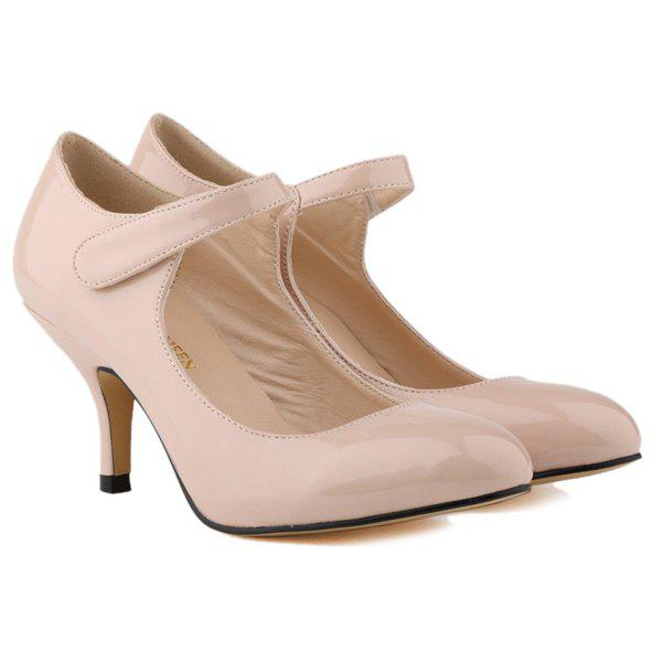 Stylish Patent Leather and Kitten Heel Design Women's Pumps - NUDE 39
