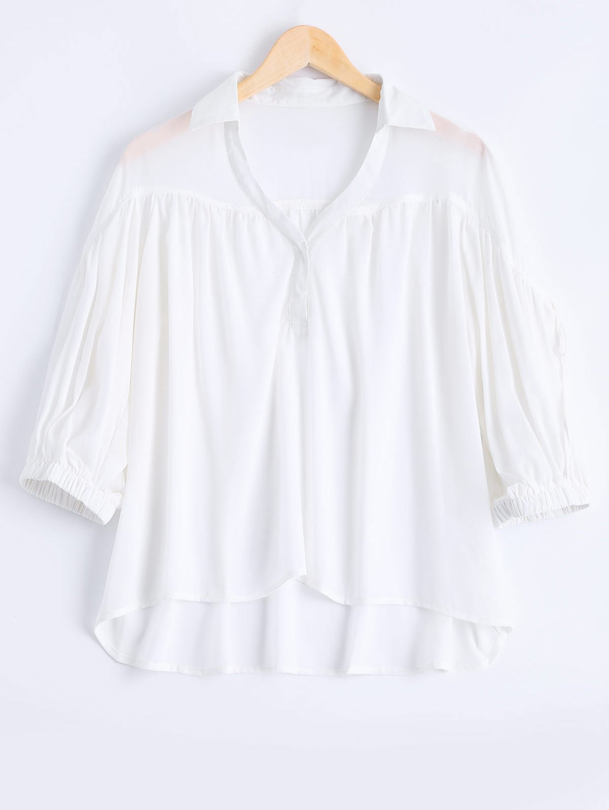 Fashionable 3/4 Sleeve Strappy V-Neck Blouse For Women - WHITE ONE SIZE(FIT SIZE XS TO M)