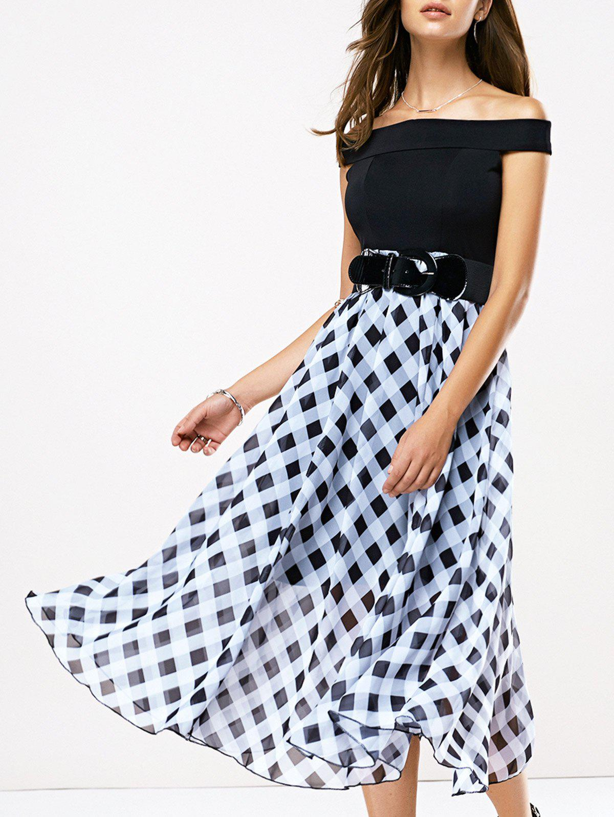 Off The Shoulder Patch Design Tie Belt Plaid Dress - WHITE/BLACK XL