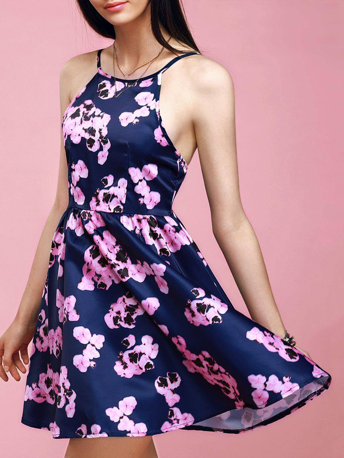 Youthful Flavor Backless Floral Print Dress
