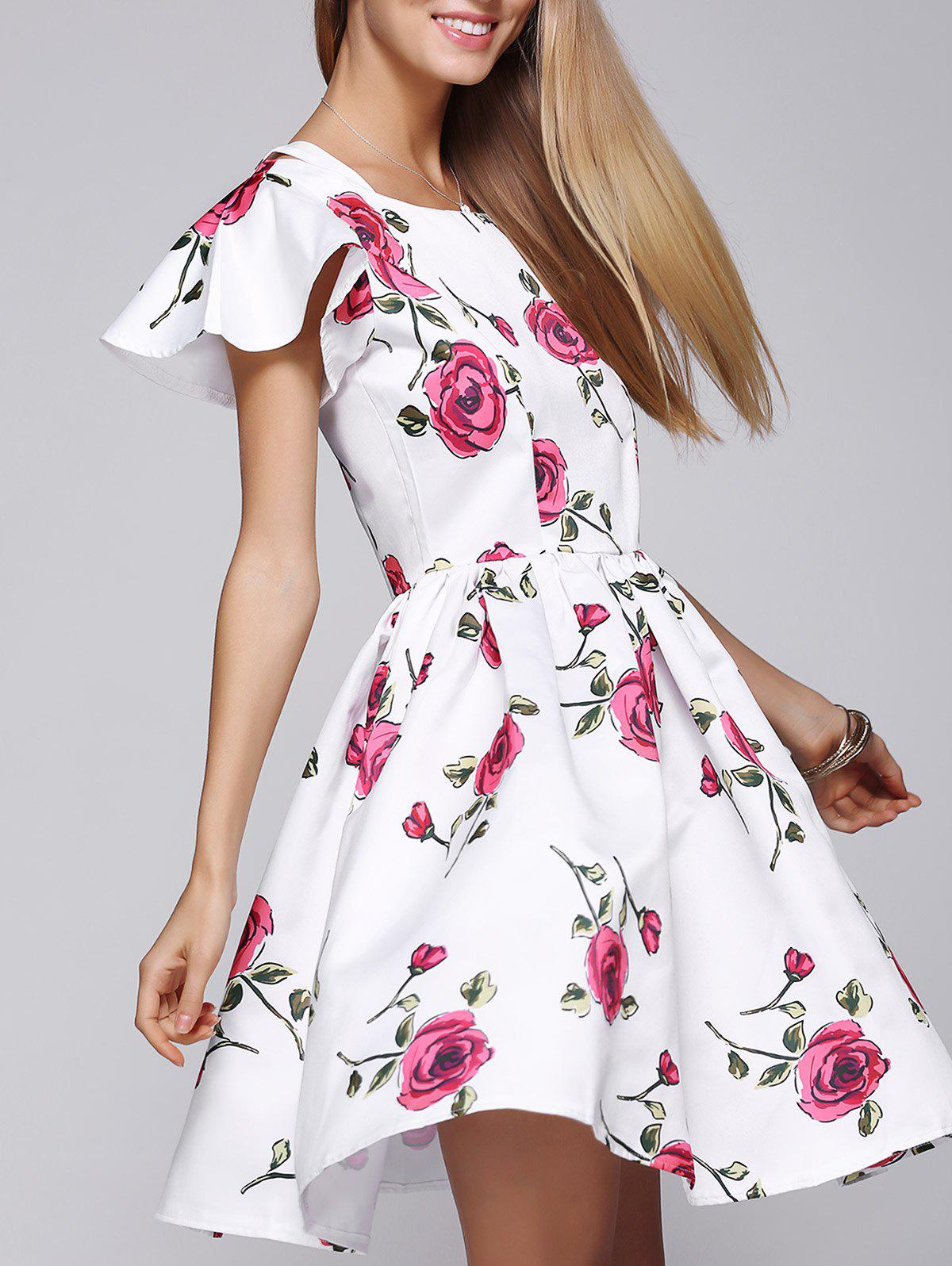 Stylish Women's Floral Print Butterfly Sleeve Dress