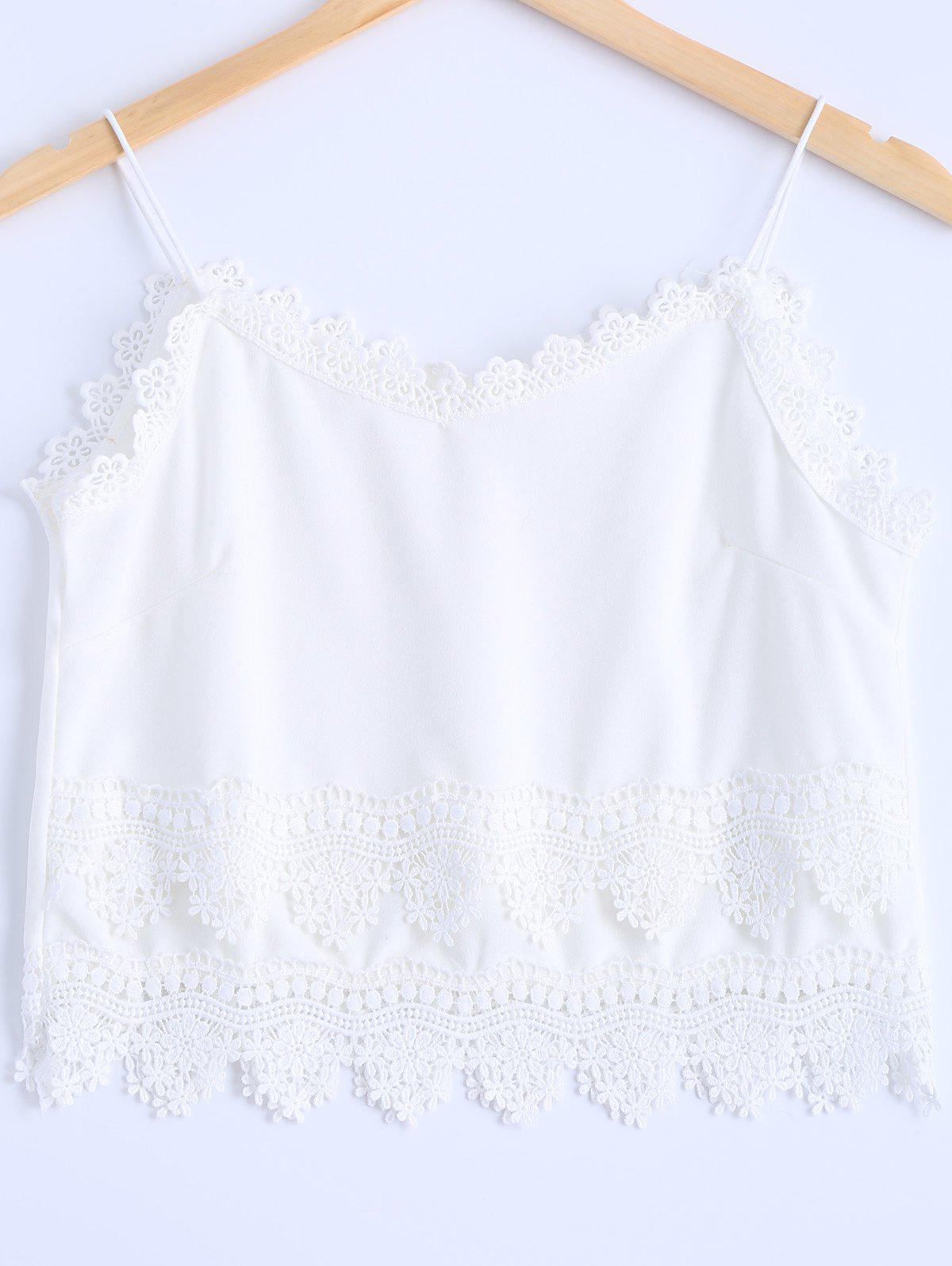 Stylish Women's Spaghetti Strap Lace Trim Top - WHITE ONE SIZE(FIT SIZE XS TO M)