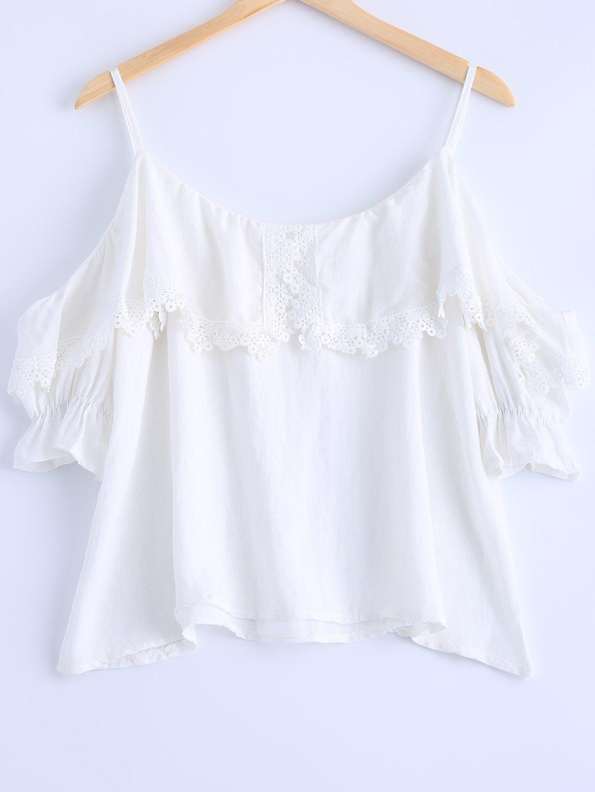 Stylish Women's Cold Shoulder Lace Embellished Short Sleeves Top - WHITE ONE SIZE(FIT SIZE XS TO M)