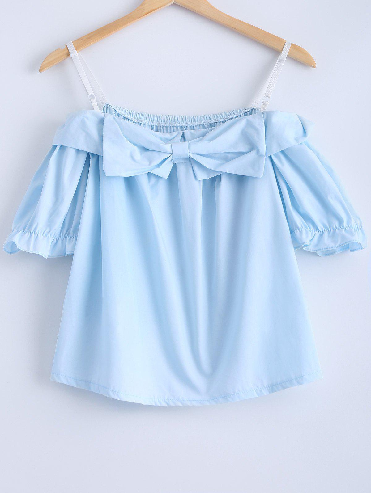 Chic Cold Shoulder Bow Tie Short Sleeves Women's Blouse - BLUE ONE SIZE(FIT SIZE XS TO M)