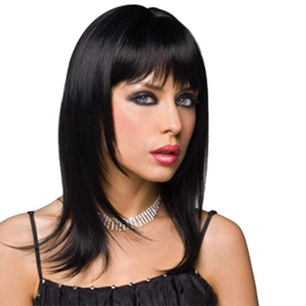 Graceful Medium Layered Human Hair Straight Full Bang Capless Wig For Women - JET BLACK