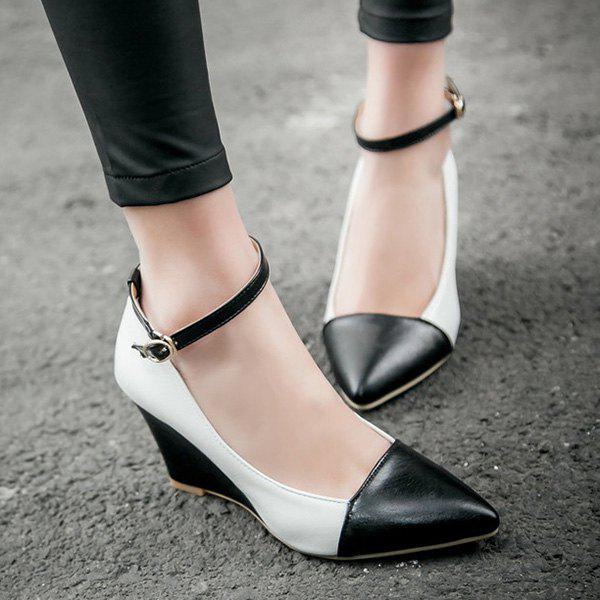 Stylish Color Block and Pointed Toe Design Women's Wedge Shoes - BLACK 38