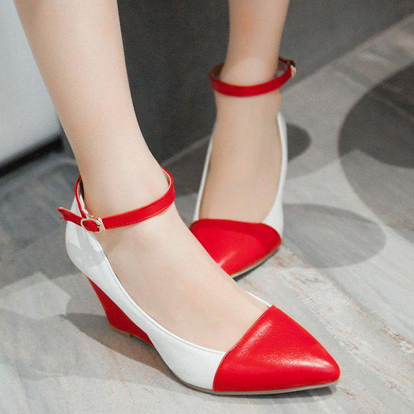 Élégant Color Block et pointu design Femmes  's Shoes Wedge - Rouge 37