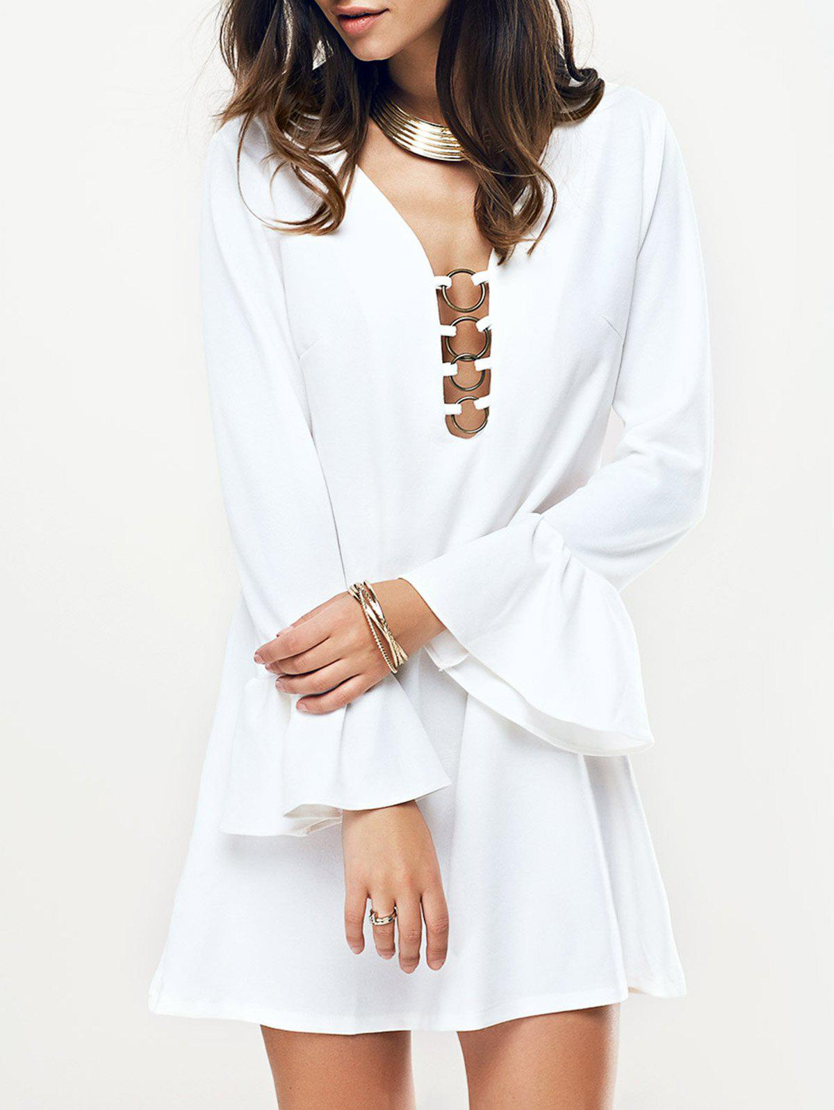 Metal Plunging Neck Flare Sleeve Women's Dress - WHITE S