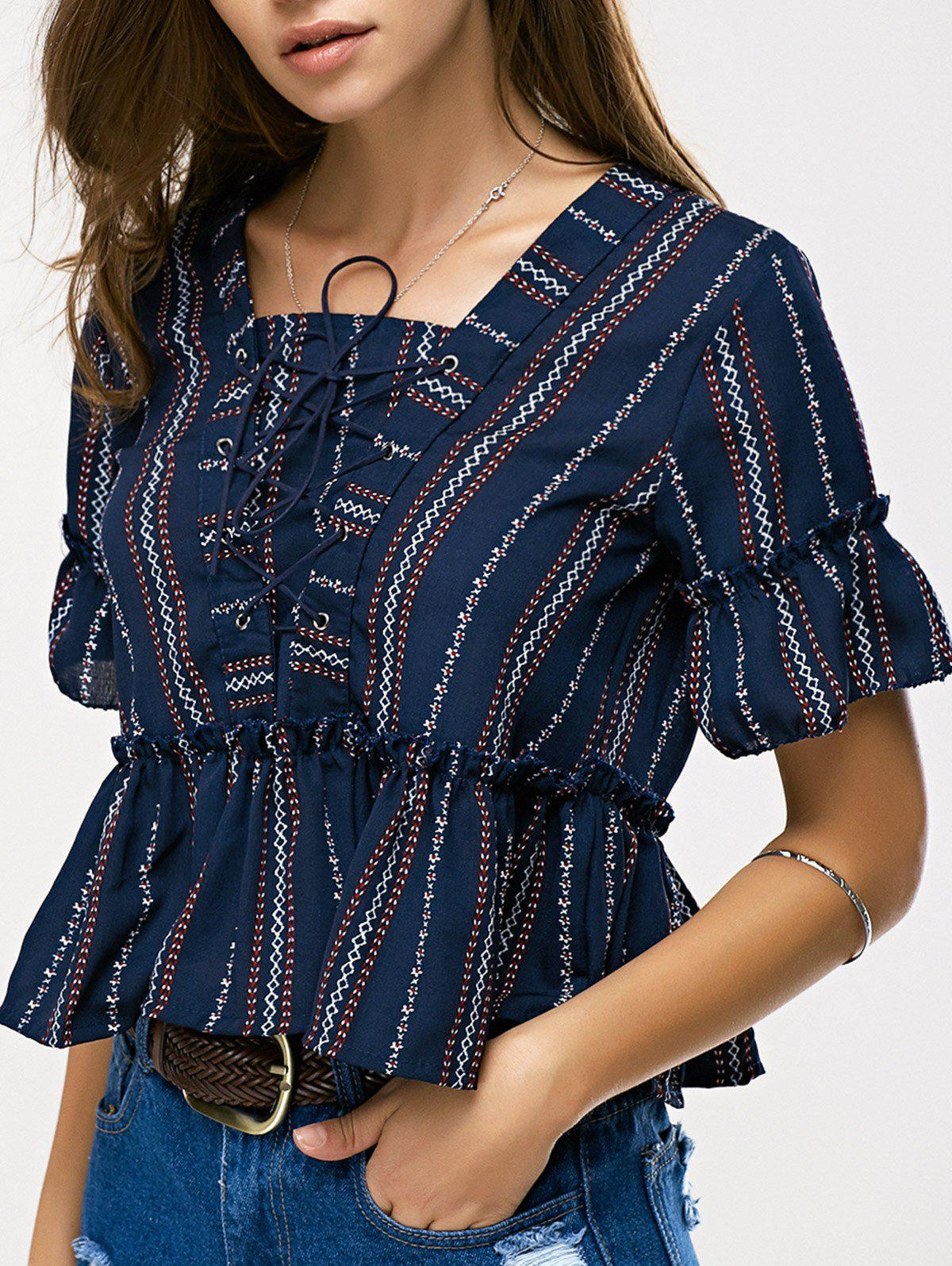 Ethnic Women's Lace-Up Ruffled Top - PURPLISH BLUE ONE SIZE(FIT SIZE XS TO M)
