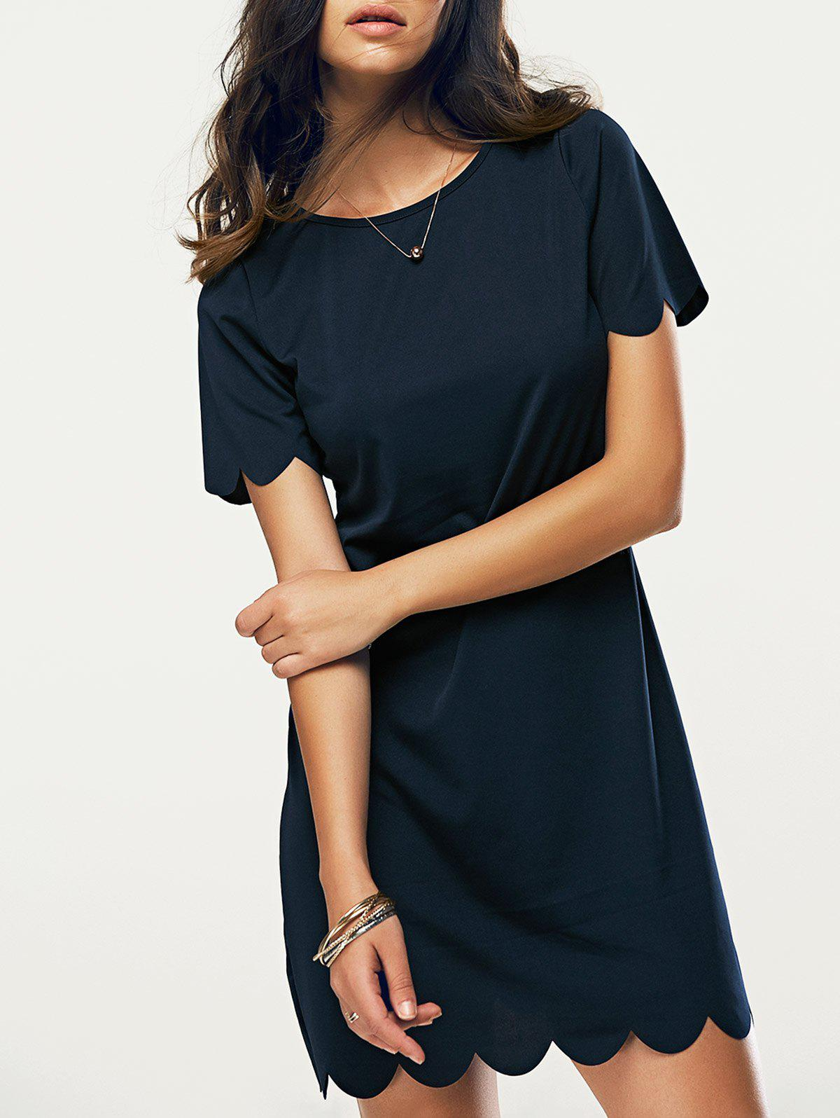 Casual Round Neck Short Sleeve Women's Dress - PURPLISH BLUE XL