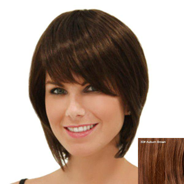 Elegant Straight Side Bang Capless Short Women's Human Hair Wig - AUBURN BROWN
