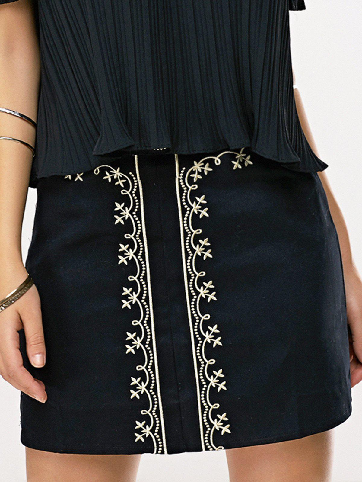 Ethnic Women's Embroidered Skirt - BLACK L