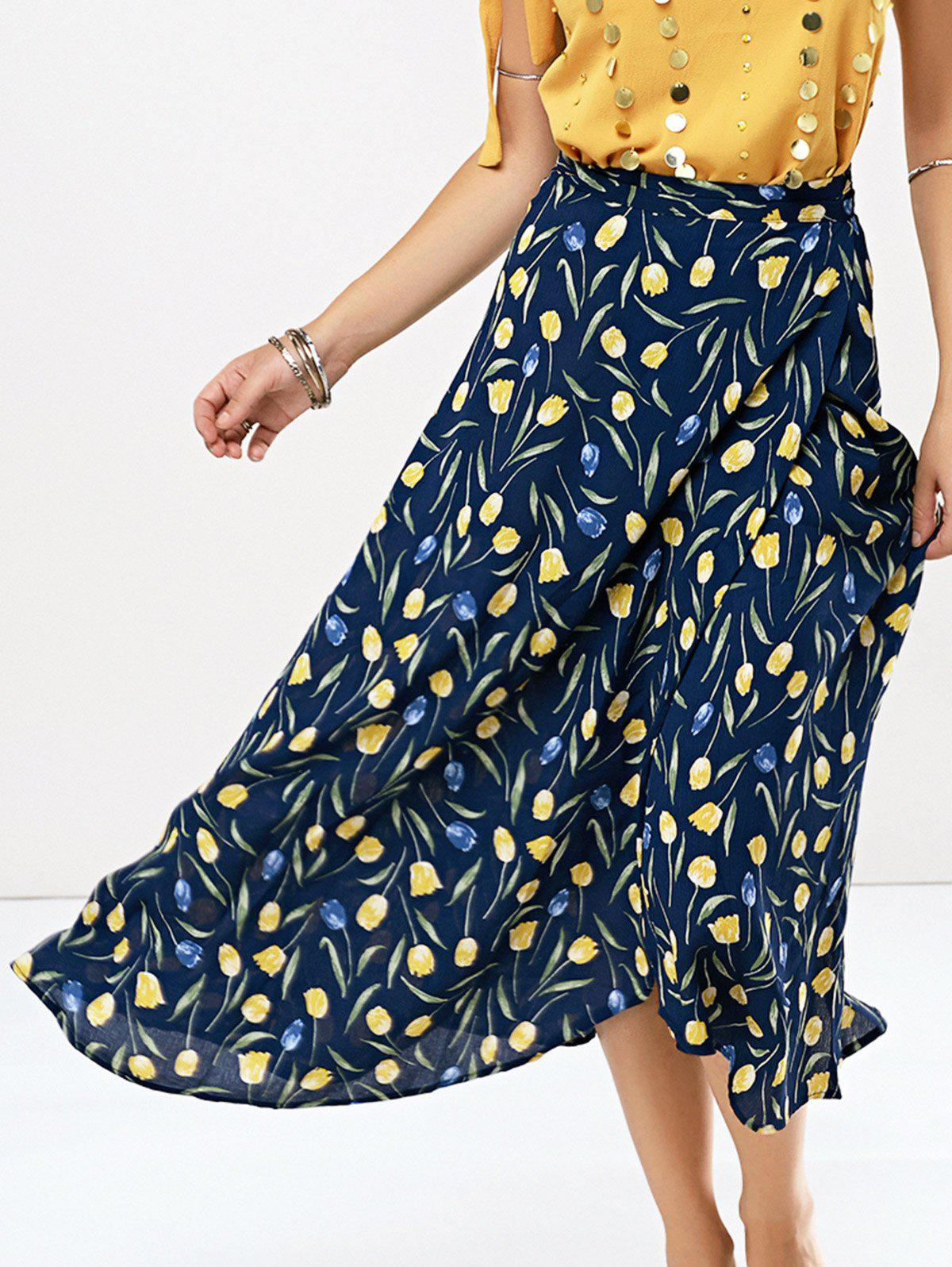 Floral Print Chiffon Skirt - CADETBLUE ONE SIZE(FIT SIZE XS TO M)