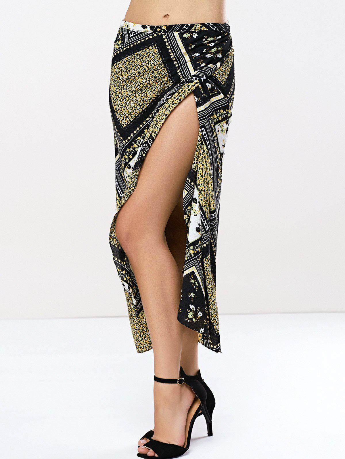 Geometrical Tribe Print Bohemian Style Skirt - BLUE/BLACK ONE SIZE(FIT SIZE XS TO M)