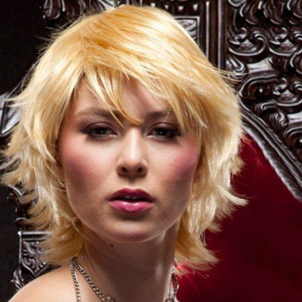 Fashion Short Blonde Human Hair Fluffy Natural Wave Capless Wig For Women