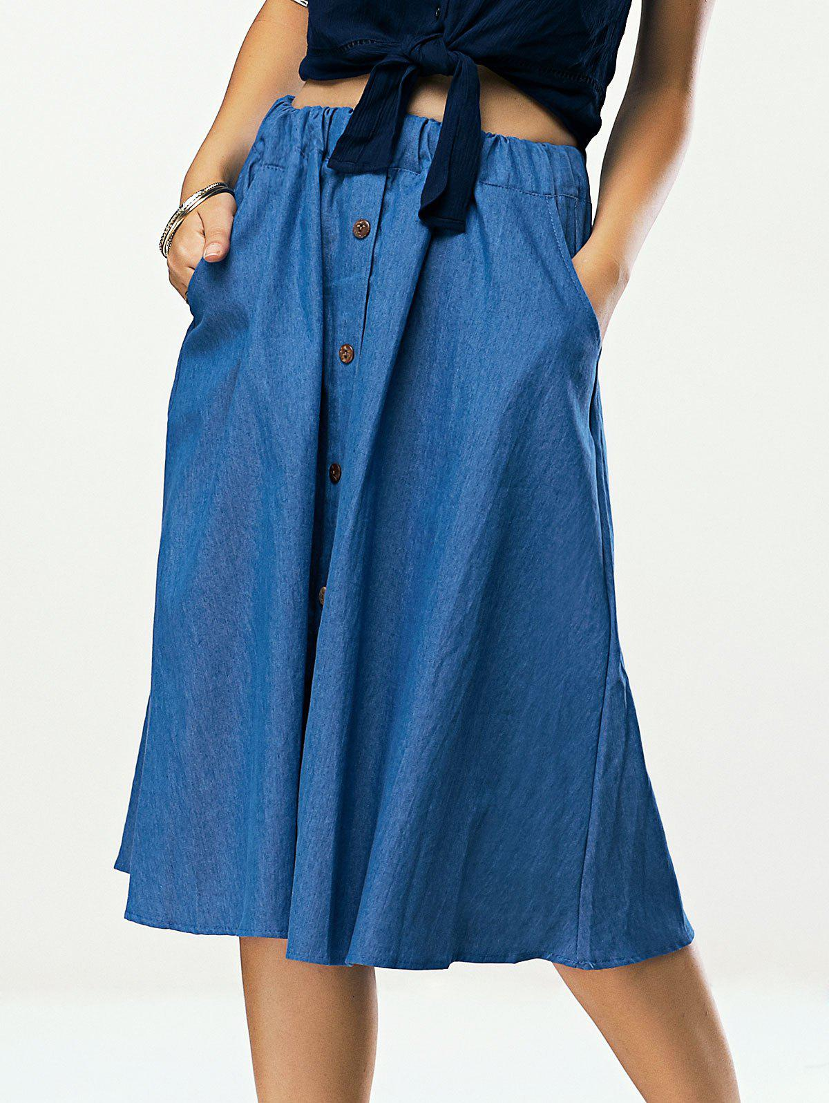 Pleated Pocket Design Denim Skirt - DENIM BLUE ONE SIZE(FIT SIZE XS TO M)