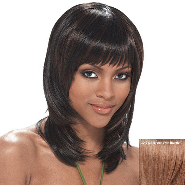 Stylish Straight Layered Real Human Hair Medium Full Bang Wig For Women - BROWN/BLONDE