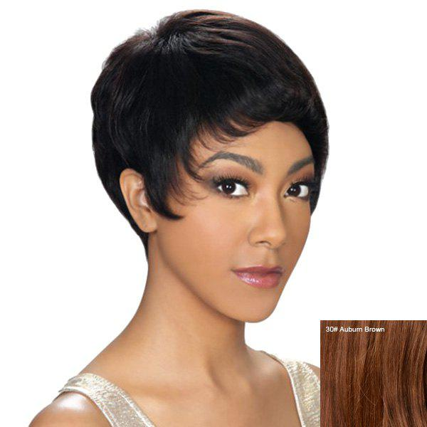 Dynamic Short Pixie Cut Capless Straight Womens Human Hair WigHair<br><br><br>Color: AUBURN BROWN