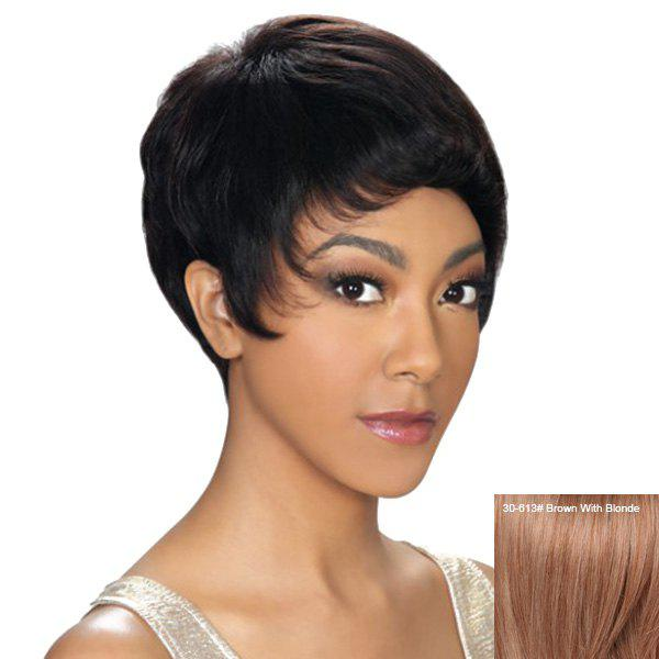 Dynamic Short Pixie Cut Capless Straight Women's Human Hair Wig - BROWN/BLONDE