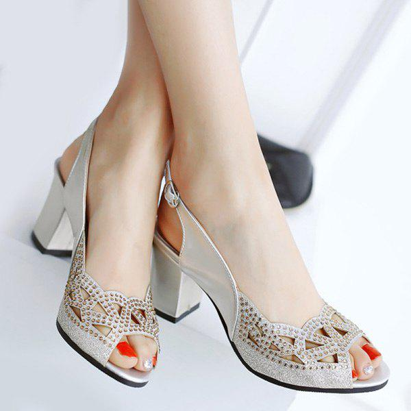 Stylish Slingback and Hollow Out Design Women's Peep Toe Shoes - SILVER 37
