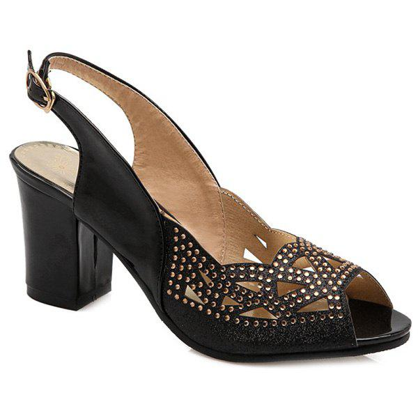 Stylish Slingback and Hollow Out Design Women's Peep Toe Shoes - BLACK 38