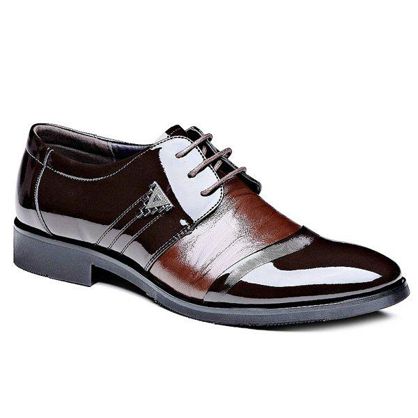 Trendy Patent Leather and Lace-Up Design Men's Formal Shoes - BROWN 42