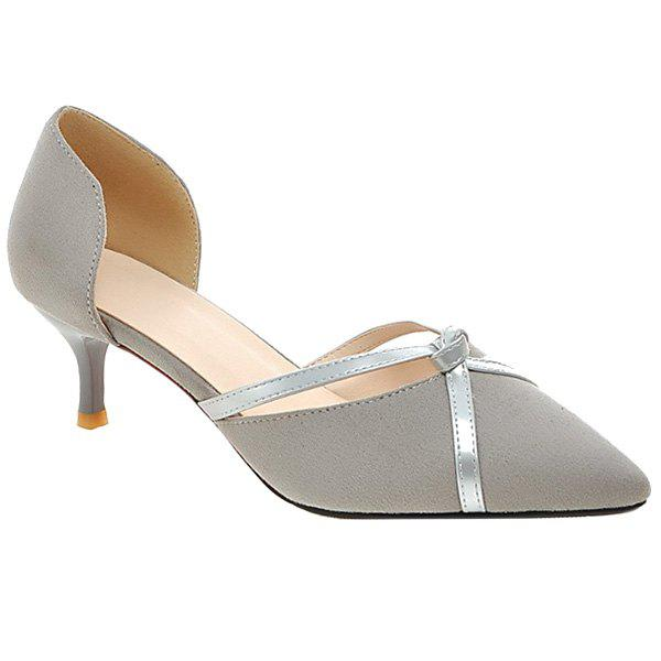 Elegant Two-Piece and Suede Design Women's Pumps - GRAY 38