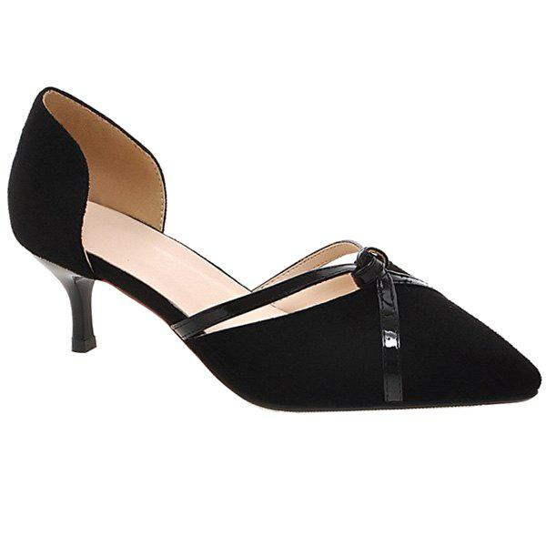 Elegant Two-Piece and Suede Design Women's Pumps - BLACK 38