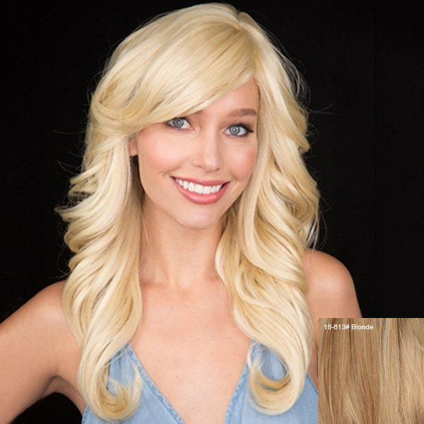 Charming Long Real Human Hair Fluffy Wavy Side Bang Women's Handwoven Front Wig - BLONDE