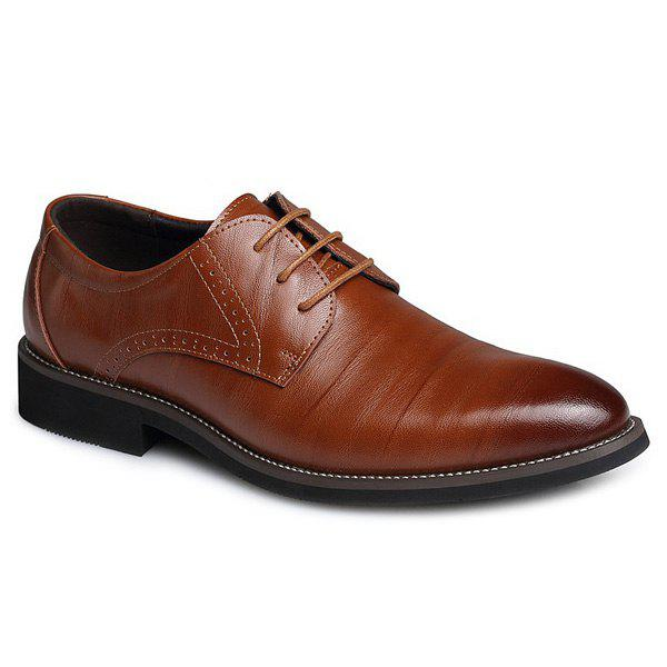 Retro Pointed Toe and Lace-Up Design Men's Formal Shoes new arrival men casual business wedding formal dress genuine leather shoes pointed toe lace up derby shoe gentleman zapatos male