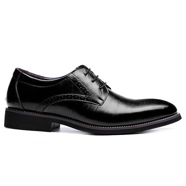 Retro Pointed Toe and Lace-Up Design Men's Formal Shoes - BLACK 44