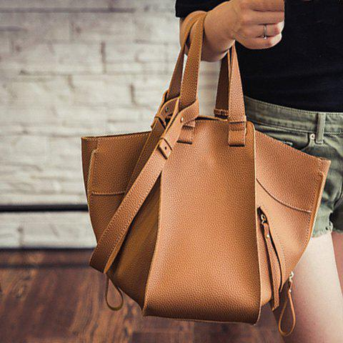 Trendy Magnetic Closure and Zippers Design Women's Tote Bag - BROWN