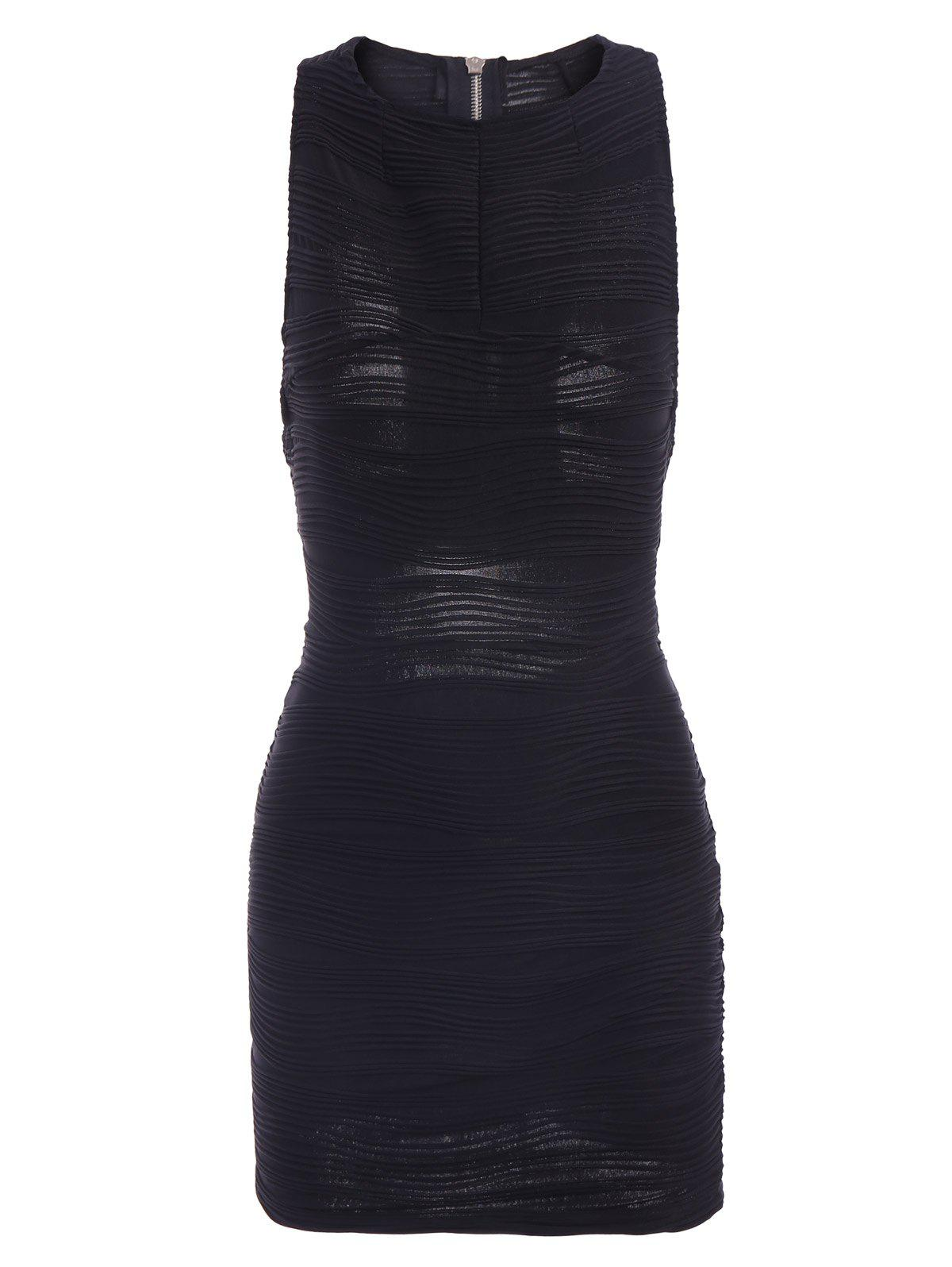 Sexy Round Collar Solid Color Backless Cut Out Skinny Sleeveless Womens DressWomen<br><br><br>Size: ONE SIZE(FIT SIZE XS TO M)<br>Color: BLACK